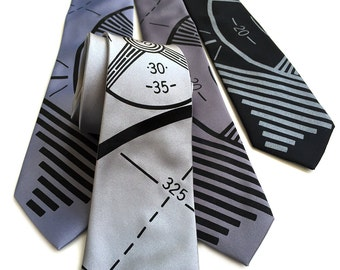 TV Test Pattern necktie. Television broadcast sign off men's tie. Silkscreen print on black, silver & more. Your choice of color and width.