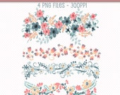 Digital Floral Borders, Flowers Clip Art, Digital Borders, Digital Scrapbooking Borders, Floral Borders, Botanical Borders, PNG Graphic Art