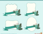 Floral Banners and Brackets Clip Art Kit, Aqua Blue Banners With Flowers Clipart, Aqua Flowers Clipart, Floral Clipart, Digital Scrapbooking