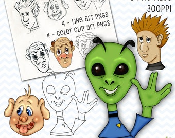 Silly Faces Clip Art, Cartoon Characters Clip Art Set, PNG Cartoon Characters, Alien Clip Art, Funny Faces Clip Art, Clip Art, Silly Clipart