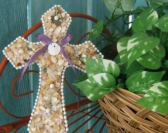 Seashell Wall Cross with genuine sanddollar and plum colored bow, Seaside Home Decor, Beach Wedding, Anniversary Gift, Christian Decoration