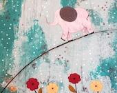 Large Original Acrylic Elephant Painting , Nursery Collage Art, Abstract Painting