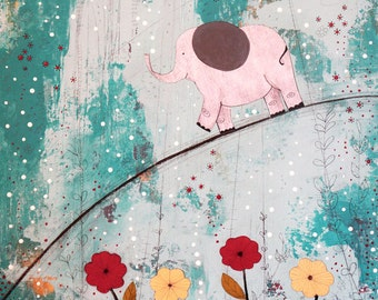 Large Original Acrylic Elephant Painting , Nursery Collage Art, Abstract Painting