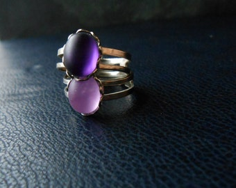 empress ring - matte vintage glass purple stone ring - goth costume jewelry handmade soft grunge jewelry