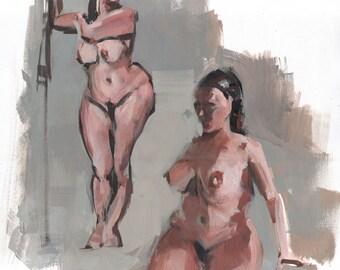 Original 16x20 Female Nude Figure Painting OOAK