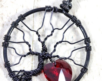 Heart Tree of Life Pendant Swarovski Crystal Black Wire Wrapped Love Valentine's Day Forever Yours Gothic Romance Romantic Gift for Her RTS