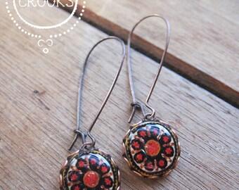 Long red earrings, Catalan tile drop earrings, long dangle earrings, copper, Spanish gypsy jewelry, ethnic jewelry