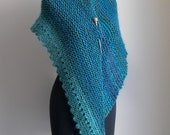 SALE - Hand Knit Asymmetrical Shoulder Shawl Scarf Cowl Wrap, Stylish Comfort Prayer Meditation, Turquoise Blue, Ready to Ship FREE SHIPPING