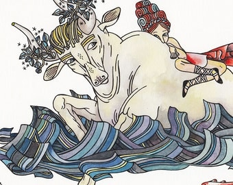 Europa and the the Bull watercolor