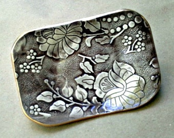 Ceramic Brown Damask lace Trinket  Dish Soap Dish