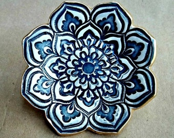 Ceramic Lotus Ring Dish ring bowl Navy Blue