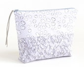 Forever Mountains and Popcorn Clouds Boxy Zipper Pouch or Cosmetic/Project Bag | Original Fabric Design | Organic Cotton Sateen