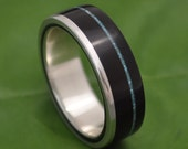 Turquoise Wood Ring - Un Lado Asi - coyol seed and silver wood wedding band, mens wood wedding ring, women's wooden band