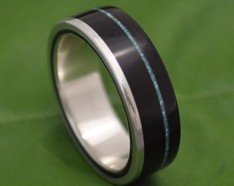 Size 7.5, 7mm READY TO SHIP Turquoise Un Lado Asi Wood Ring - coyol seed and silver wood wedding band, mens wood wedding ring, wooden band