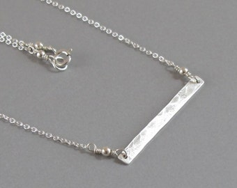 Hammered Bar Necklace Sterling Silver Chain Layering Minimalist DJStrang