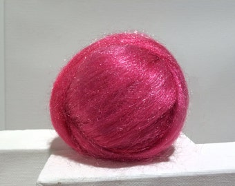 Flamingo Pink Firestar roving, Needle Felting, Spinning Fiber, pink, fuschia, Barbie Pink .5 oz, similar to Icicle Top