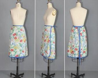 wrap skirt / 1970s skirt / vintage skirt / OPEN FIELDS cotton skirt