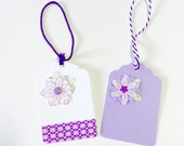 2 Fancy Purple and Pink Flower Hang Tags