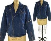 Denim Moto Jacket / Vintage 1980s Britttania Jean Jacket with Zippers