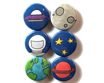 Outer Space Magnets or Pinback Buttons - fridge magnet or pin set, party favor, solar system, alien, UFO, planet, moon, earth, astronaut