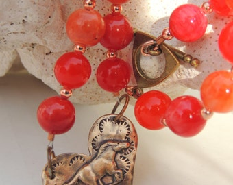 WILD AT HEART Handmade Mustang Horse and Copper Necklace Set