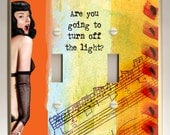 Double Light Switch Plate - Bettie Page - Turn Off The Light - Orange, Yellow, Blue, Black