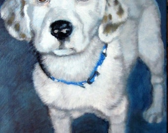 12x16 Original custom pet portrait painting from your photo, oil painting on canvas, dog portrait or any animal
