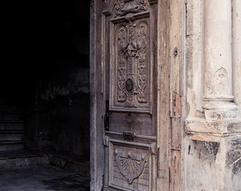 "Weathered Wood Rustic Door Photo, Urban Art, Havana Art Print, Cuba, Travel Photography, Rustic Wall Decor, Urban Decay ""Invitation"""