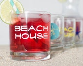 BEACH HOUSE - 4 ROCKS glasses screen printed in turquoise, yellow, navy blue, white