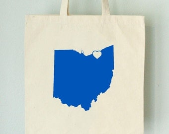 SALE Ohio LOVE Tote CLEVELAND royal blue state silhouette with heart on natural bag
