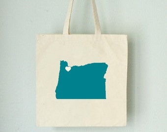 OREGON LOVE TOTE state silhouette with heart on natural bag- Portland