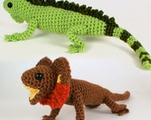 Iguana and Frilled Lizard - two amigurumi lizard PDF CROCHET PATTERNS