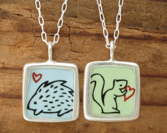 Squirrel Necklace - Hedgehog Necklace - Reversible Sterling Silver and Vitreous Enamel Pendant with Original Squirrel and Porcupine Drawings