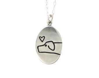 I Love My Dog Necklace - Sterling Silver Dog Pendant - Dog Medallion - Love Me, Love My Dog