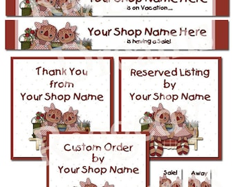 Primitive Shweet Raggedy Annie - Premade Etsy Banner Shop Design - Etsy Shop Banner Set - SHOP ICON -Shop Profile Photo