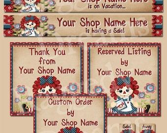 Etsy Banner Set - Premade Etsy Banner - Etsy Shop Banner - SHOP ICON - Shop Profile Photo - Cute Raggedy Annie - Raggedy Dreams Shop Design