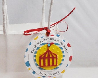 Circus Tent Favor Tags- Boy 1st Birthday- Set of 12