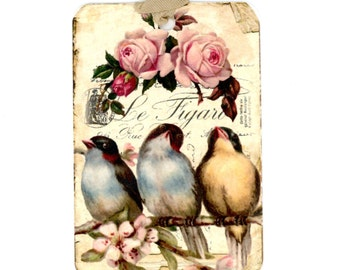 Bird Tags , Vintage Gift Tags , Birds and Roses , Bluebirds