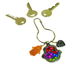 Hamsa hand key chain metal with polymer clay  or for  decoration your bag
