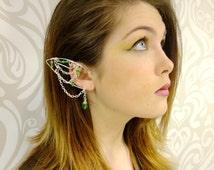 Elf Ear Cuff, Silver and Green, Elven Jewelry, Elf Ear, Forest Elf, Wood Elf, Elf Queen, Fairy Ear Cuff, Silver Cuff, Green, Cosplay,