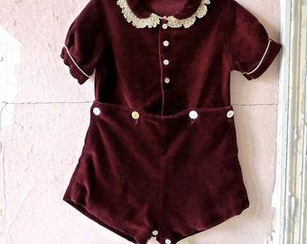 Antique Velvet Romper Suit 12 Months