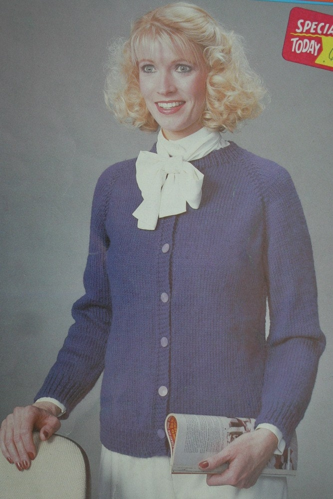 Classic Cardigan Knitting Pattern : Cardigan Knitting Pattern Carnival 7009 Sweater Worsted Weight