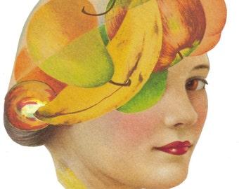 Avant Garde Art, Odd Dada Decor, Strange Surreal Artwork, One of a Kind Wall Art, Collage Original, Fruitarian Fruit Theme, Weird Gift