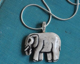 Elephant Necklace- Porcelain Necklace