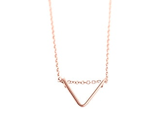 Tiny chevron necklace - rose gold necklace - triangle necklace - minimalist necklace - petite necklace - Tiny Chevron rose gold