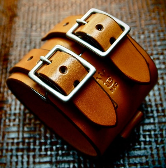 Leather cuff Bracelet watchband Vintage Johnny Depp style wristband Handmade for YOU in NYC by Freddie Matara