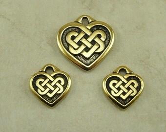 3 TierraCast Heart Shaped Celtic Knot Charm & Pendant Trio > Love Irish Ireland - 22kt Gold Plated Lead Free Pewter I ship Internationally