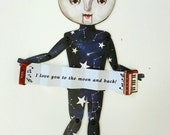 Singing Moon Paper Art Puppet. Custom message accordion and moving mouth tab. Unique art doll, gift, decoration for home.