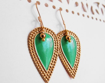 Nouveau Antiquity - Petite Golden Brass Shields in Chrysoprase Green