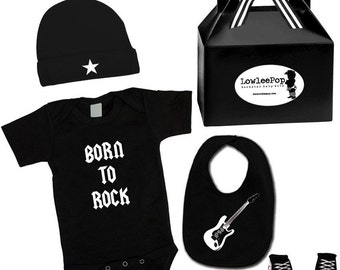 Baby Punk Rock Gift Set - Born To Rock Onesie, hat, Sneaker booties & bib Kit